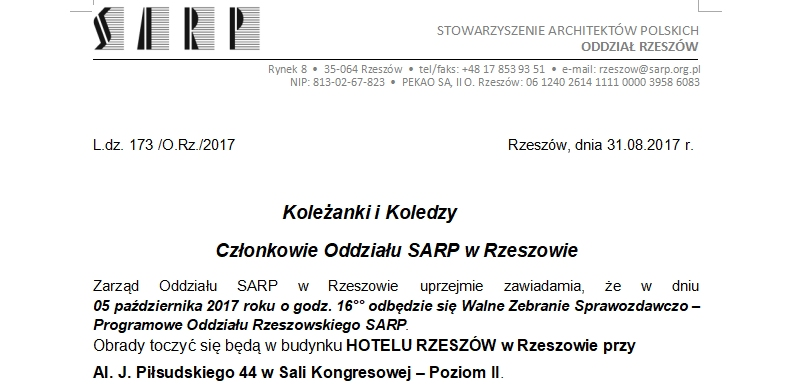 05.10.2017 WALNE ZEBRANIE SPRAWOZDAWCZO-PROGRAMOWE SARP O/RZESZÓW