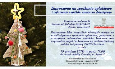 19 grudnia, 17:00 - Spotkanie Opłatkowe - Zaproszenie