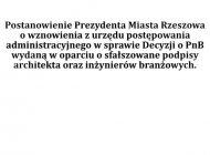 Postanowienie w sprawie wznowienia z urzędu postępowania adm. w sprawie zaskarżonej Decyzji o PnB